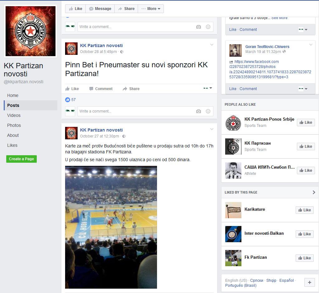 KK Partizan novosti